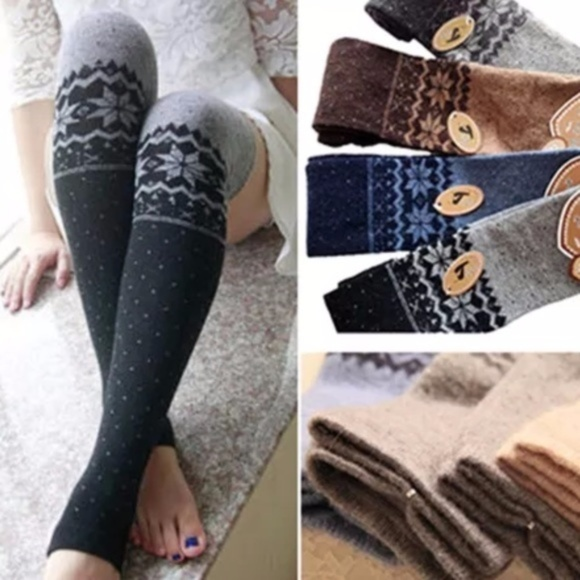 87d95846370 Stylish Gray Winter Knit Thigh Open Toe High Socks
